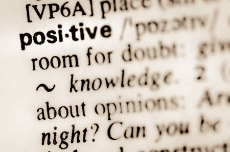 thesaurus: macro of word positive definition in dictionary Stock Photo