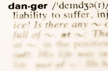 definicion: Definici�n de la palabra peligro en el diccionario Foto de archivo