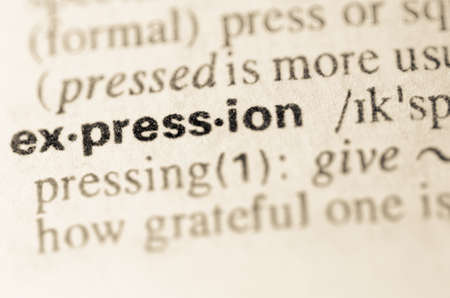 definition: Definition of word expression  in dictionary Stock Photo