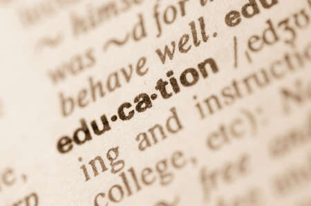 semantic: Definition of word education in dictionary Stock Photo