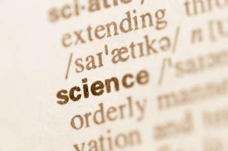 Definitie van woord wetenschap in woordenboek Stockfoto