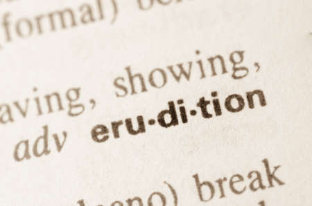 erudition: Definition of word erudition in dictionary Stock Photo