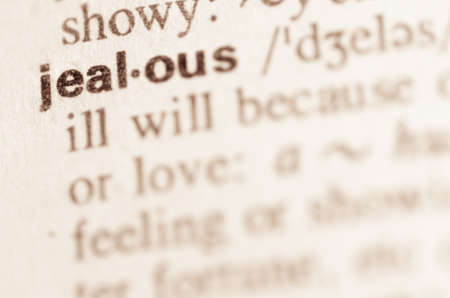 lexical: Definition of word jealous  in dictionary Stock Photo