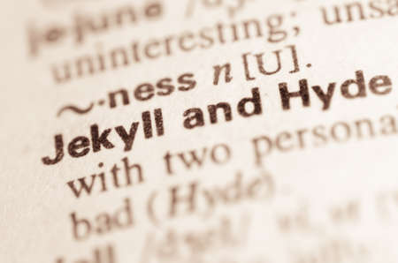 Definitie van woord Jekyll en Hyde in woordenboek Stockfoto