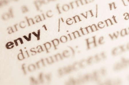 definicion: Definici�n de la palabra en el diccionario de la envidia Foto de archivo