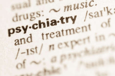 Definition of word psychiatry in dictionary Archivio Fotografico