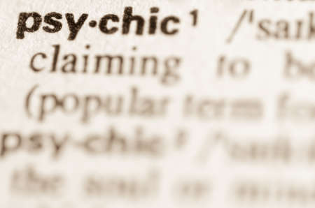 definition: Definition of word psychic in dictionary Stock Photo