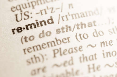 lexical: Definition of word remind in dictionary Stock Photo