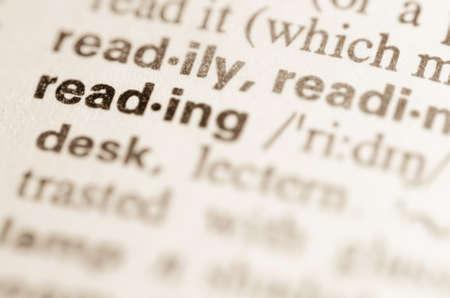 definicion: Definici�n de la palabra en el diccionario de la lectura Foto de archivo