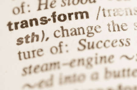 transfigure: Definition of word in dictionary Stock Photo