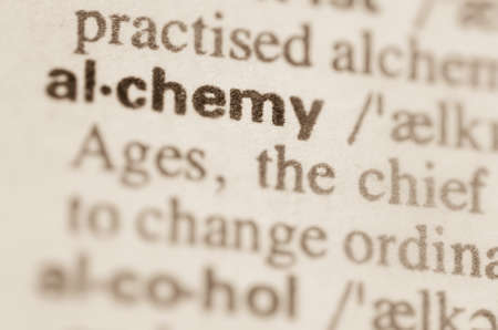 mediaval: Definition of word alchemy in dictionary Stock Photo