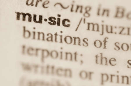 lexical: Definition of word music in dictionary Stock Photo