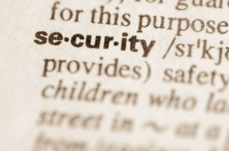 lexical: Definition of word security in dictionary Stock Photo