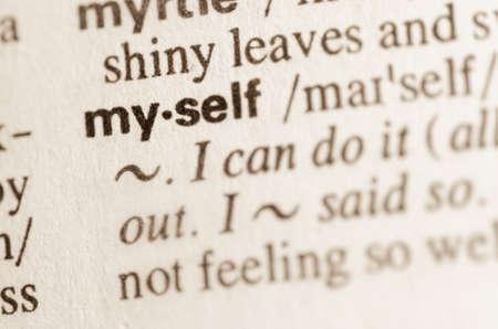 Definition of word myself  in dictionary Archivio Fotografico