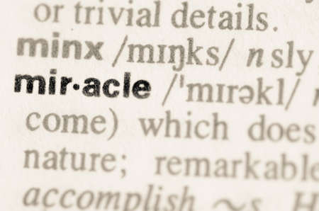 lexical: Definition of word miracle in dictionary Stock Photo