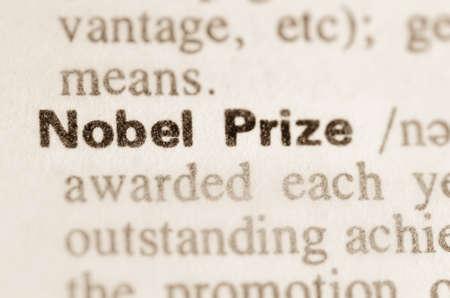 Definitie van woord Nobelprijs in woordenboek Stockfoto