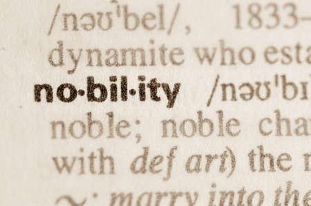 definicion: Definici�n de la palabra en el diccionario de la nobleza Foto de archivo