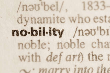 lexical: Definition of word nobility  in dictionary Stock Photo