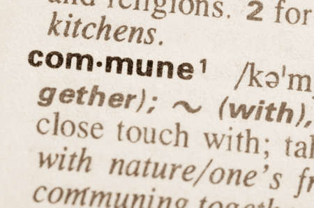 Definition of word commune in dictionary Stock Photo