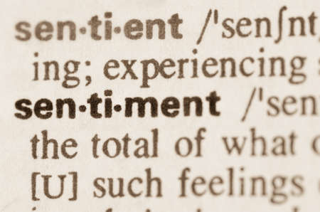sentiment: Definition of word sentiment in dictionary Stock Photo