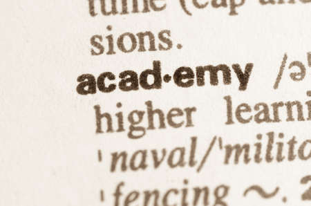 lexical: Definition of word academy in dictionary Stock Photo