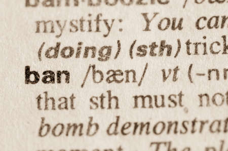 injunction: Definition of word ban  in dictionary Stock Photo