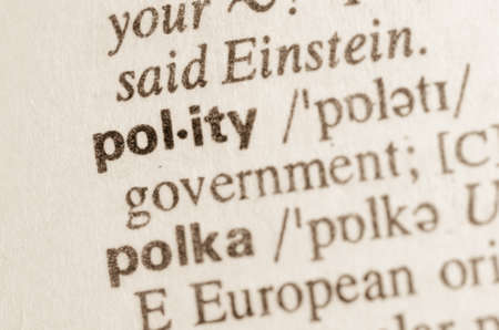 polity: Definition of word polity  in dictionary Stock Photo