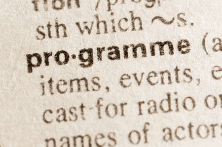 lexical: Definition of word programme in dictionary Stock Photo