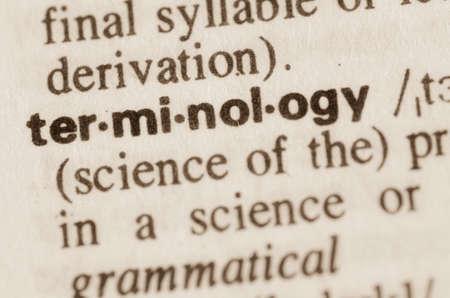 Definition des Wortes Terminologie im Wörterbuch Standard-Bild - 38374747