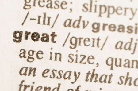 lexical: Definition of word great in dictionary Stock Photo