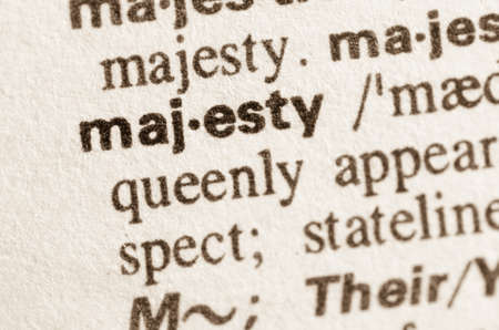 majesty: Definition of word majesty  in dictionary Stock Photo