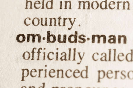 Definition of word ombudsman in dictionary Archivio Fotografico
