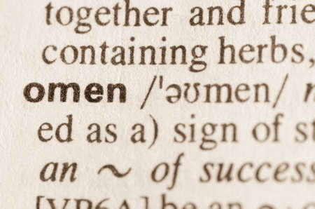 prognostic: Definition of word omen in dictionary