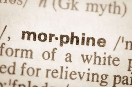 morphine: Definition of word morphine  in dictionary Stock Photo