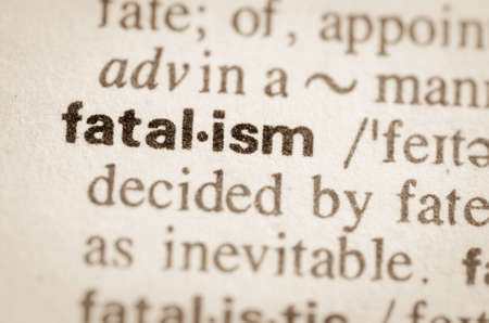 lexical: Definition of word fatalism in dictionary Stock Photo