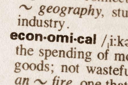 definicion: Definici�n de la palabra econ�mica en el diccionario Foto de archivo