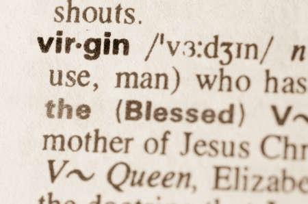 definicion: Definición de la palabra virgen en el diccionario Foto de archivo