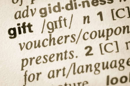 lexical: Definition of word gift in dictionary Stock Photo