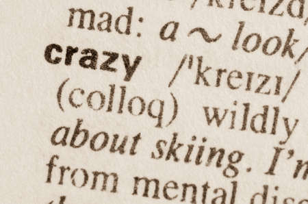 Definition of word crazy in dictionary Stock Photo