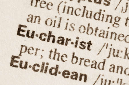 lexical: Definition of word Eucharist in dictionary Stock Photo