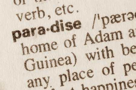 lexical: Definition of word paradise  in dictionary Stock Photo