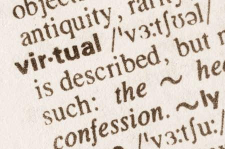 definicion: Definici�n de la palabra virtual en el diccionario Foto de archivo