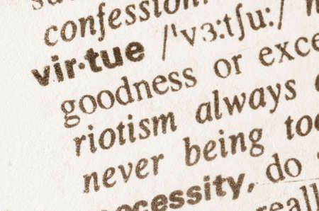 virtue: Definition of word virtue in dictionary Stock Photo