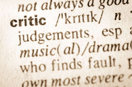 definition: Definition of word critic in dictionary Stock Photo