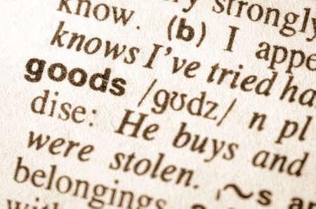 definición: Definición de los bienes de palabras en el diccionario Foto de archivo
