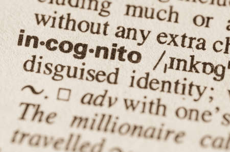 incognito: Definition of word incognito in dictionary Stock Photo
