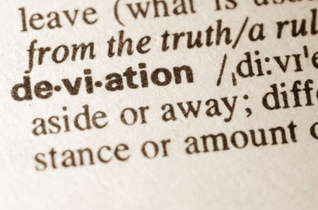 deviation: Definition of word deviation  in dictionary