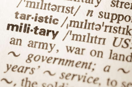 definicion: Definici�n de la palabra en el diccionario de militares Foto de archivo
