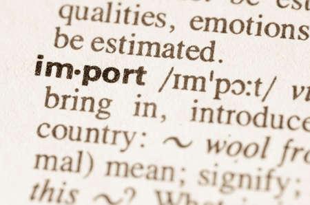 definicion: Definición de la palabra en el diccionario de importación