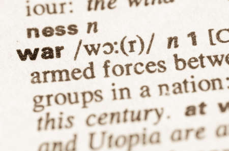 lexical: Definition of word in dictionary war Stock Photo